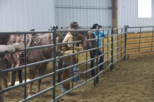Riders watch A-Pen work at Martin Black clinic